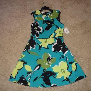 NWT London Times Blue/Green Floral Dress